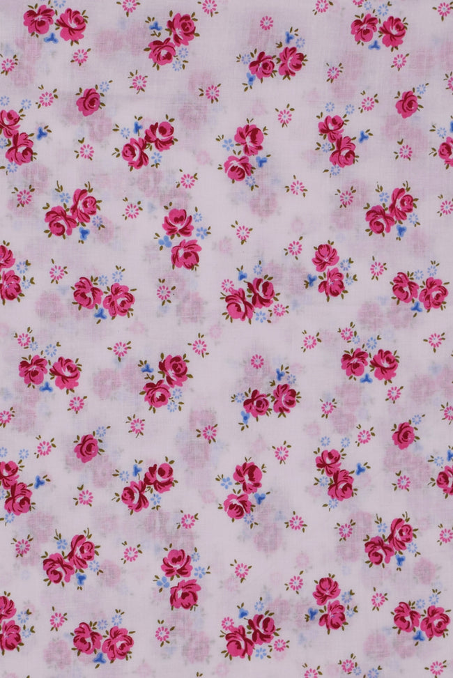 Pink Flower Rayon Fabric
