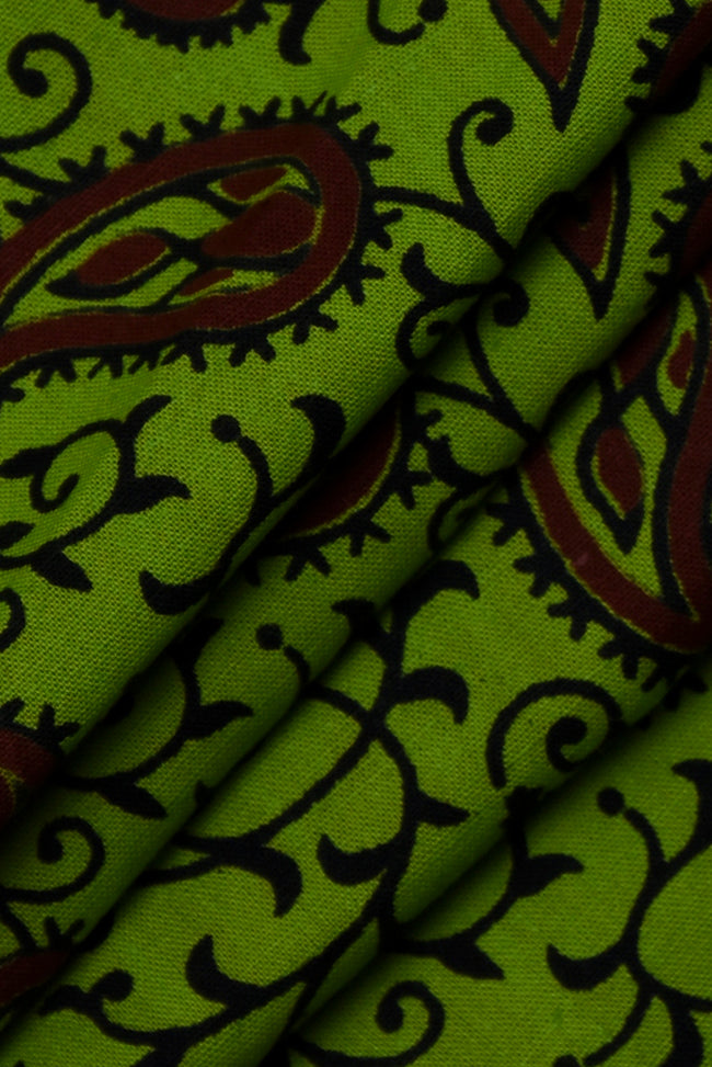 Green Leaf Screen Print Cotton Fabric