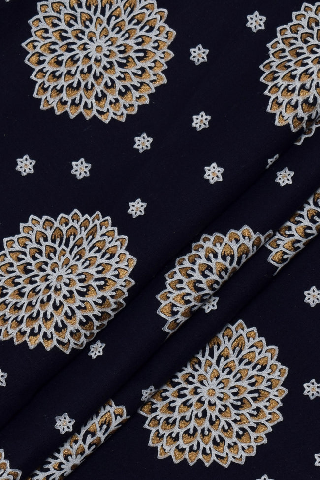 White Flower Blue Cotton Handblock Print Fabric