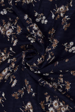 Black Floral Print Cotton Screen Print Fabric