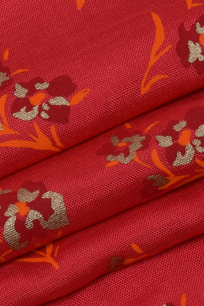 Red Floral Rayon Fabric