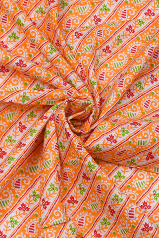 Neon Carrot Buta Print Cotton Fabric