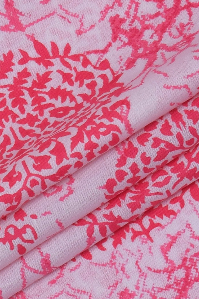 Pink Floral Cotton Fabric