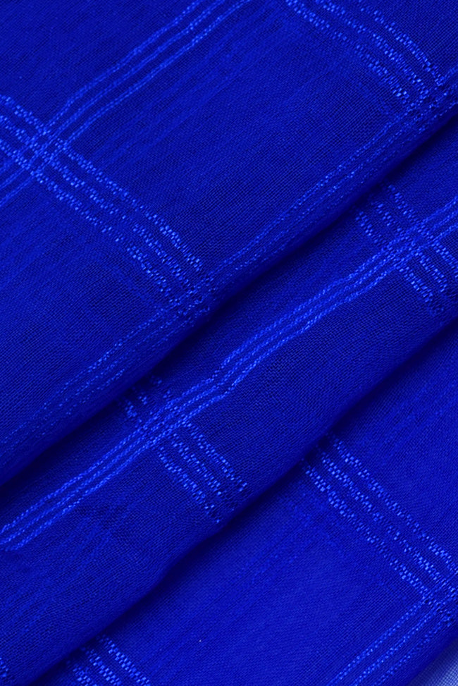 Ultramarine Check Print Chiffon Fabric