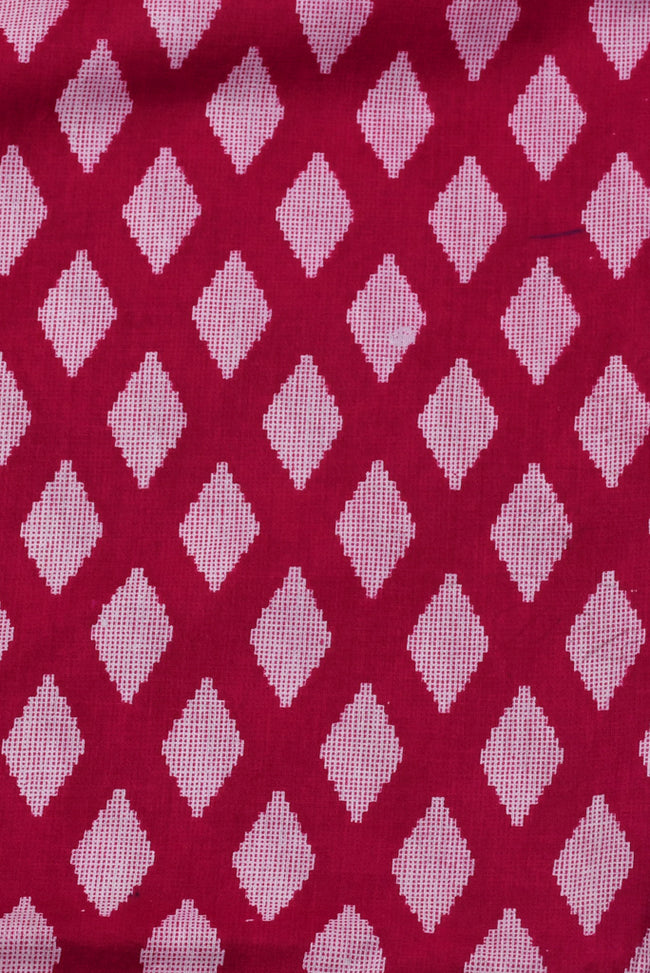 Red Diamond Print Rayon Fabric