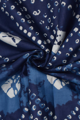 Blue Indigo Bandhej Print Cotton Fabric