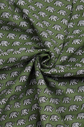 Green Elephant Print Cotton Fabric
