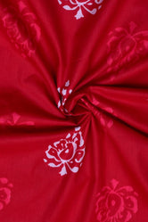 Red Leaf Print Cotton Fabric