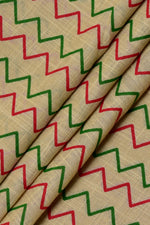 Brown Zig Zag Print Cotton Fabric