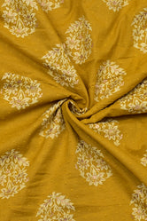 Dark Yellow Self Design Gold Buta Print Cotton Fabric
