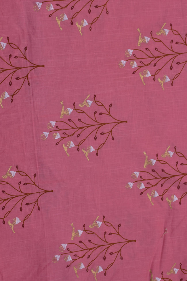 Pink Gold Flower Print Cotton Cambric Fabric