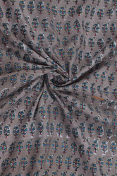Gray Leaf Print Cotton Fabric