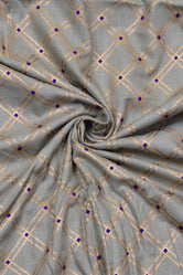 Grey Gold Checks Print Cotton Fabric