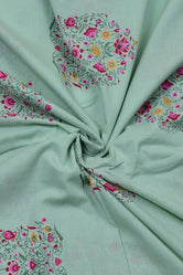 Light Green Flower Print Cotton Fabric