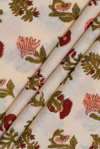 Blue & Orange Floral Printed Mughal Cotton Fabric