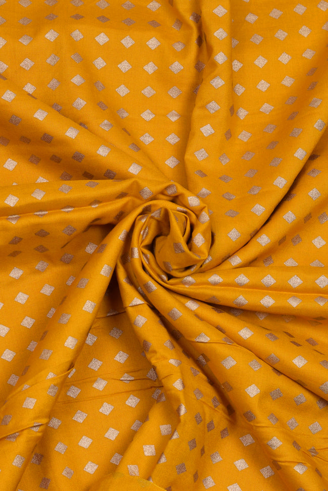 Yellow & Gold Print Rayon Fabric