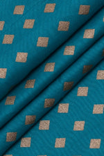 Sky Blue & Gold Print Rayon Fabric