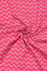 Pink Zig Zag Print Cotton Fabric