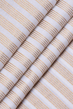 Cream & Gold Strips Print Rayon Fabric
