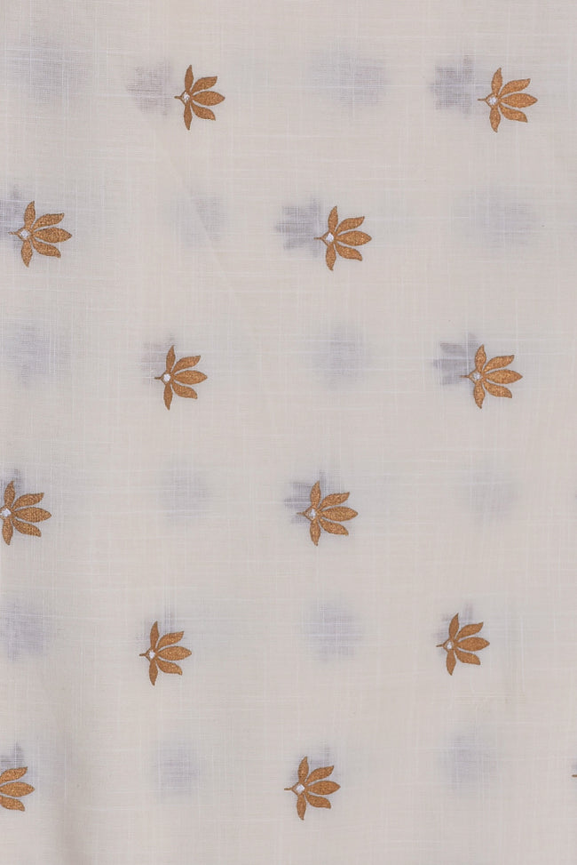 Cream & Gold Flower Print Cotton Mal Fabric