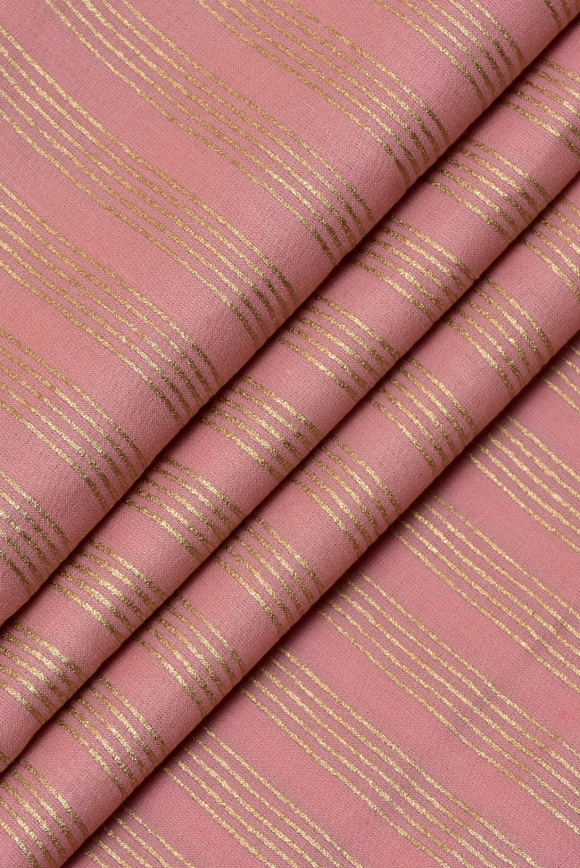 Pink & Gold Strips Print Cotton Fabric