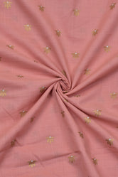 Pink & Gold Flower Print Cotton Mal Fabric