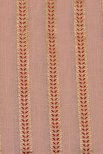 Rose Red & Gold Leaf Print Cotton Slub Fabric