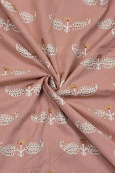 Oriental Pink & Gold Leaf Print Cotton Fabric