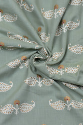 Light Green & Gold Leaf Print Cotton Fabric