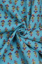 Sky Blue Flower Print Cotton Fabric
