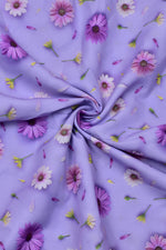 Blue Flower Print Digital Crepe Fabric