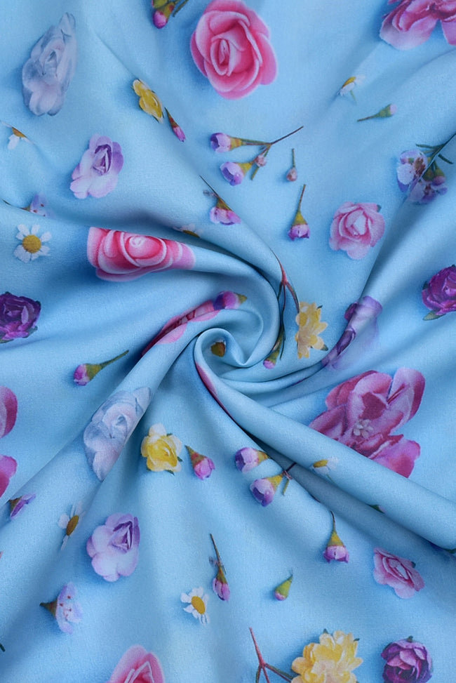 Sky Blue Flower Print Digital Crepe Fabric