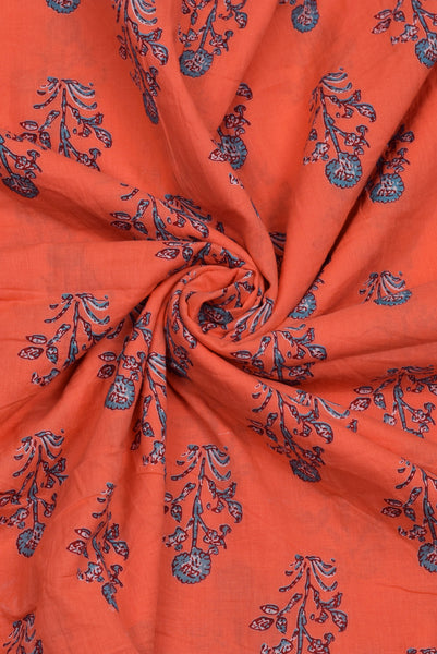 Orange Flower Mughal Print Cotton Fabric