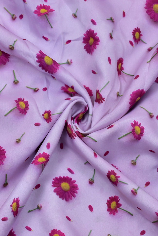 Violet Flower Print Digital Crepe Fabric