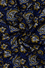 Blue & Brown Flower Print Handblock Cotton Fabric