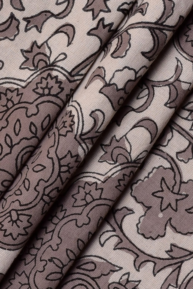 Brown Flower Print Handblock Cotton Fabric