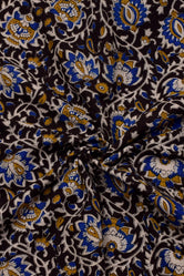 Dark Brown Flower  Flower Print Handblock Cotton Fabric