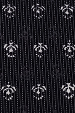 Black Flower Print Kantha Cotton Fabric