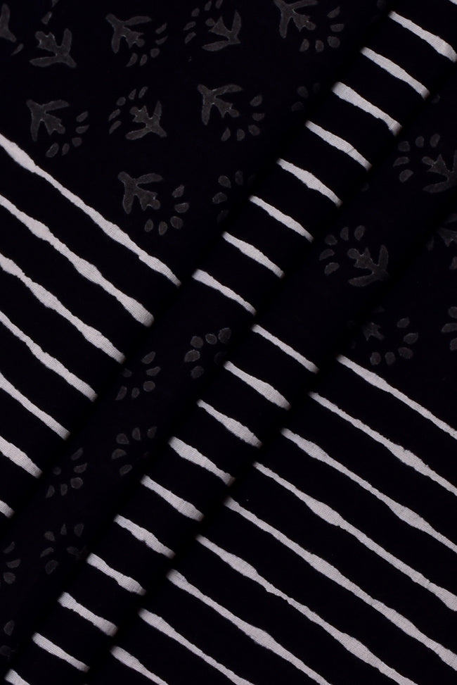 Black Flower & Strips Print Handblock Cotton Fabric