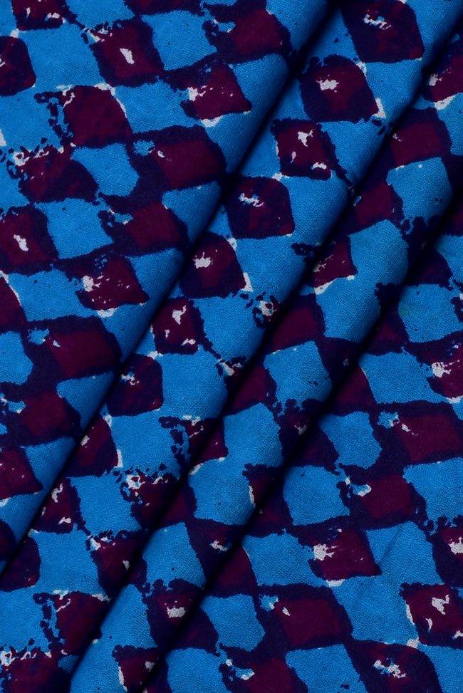 Blue Leaf Print Handblock Cotton Fabric