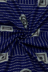 Blue Strips Print Handblock Cotton Fabric