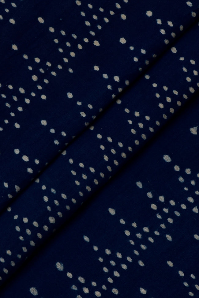 Blue Dots Print Indigo Handblock Cotton Fabric