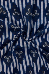 Blue Flower Print Indigo Handblock Cotton Fabric