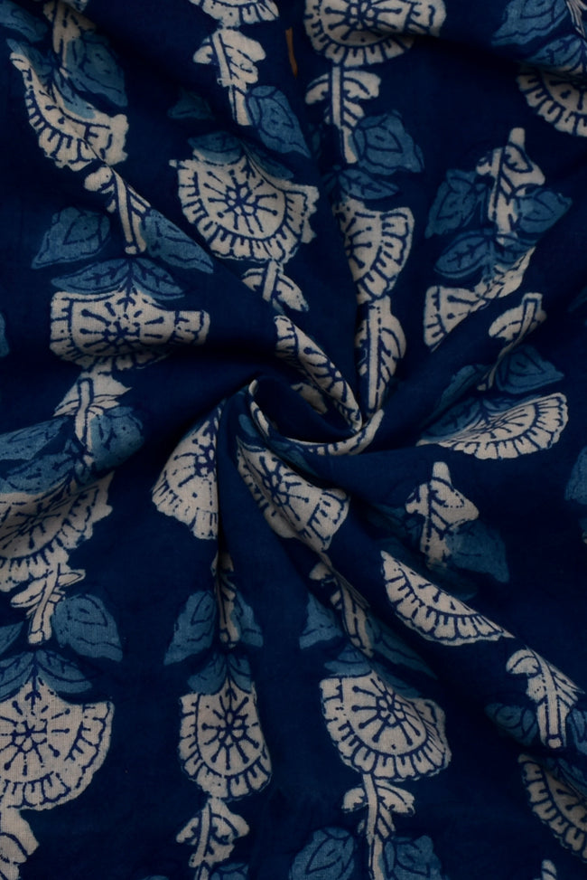 Blue Flower Print Indigio Handblock Cotton Fabric