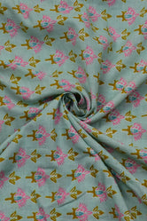 Light Green Flower Print Cotton Mal Fabric