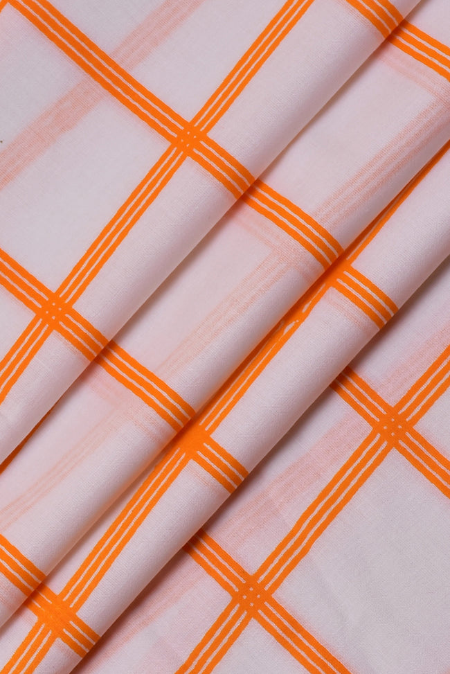 Orange Checks Print Rayon Fabric