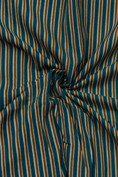 Blue & Yellow Strips Print Rayon Fabric
