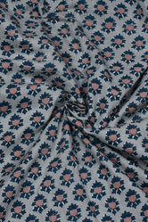 Gray Flower Print Cotton Fabric