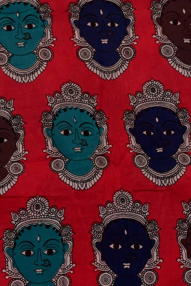 Red Women Face Print Cotton Fabric