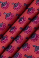 Red Flower Face Print Cotton Fabric